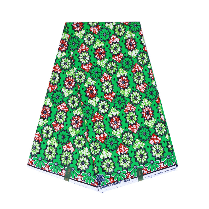 2019 Newest Arrivals African Green 100% Cotton Floral Print Wax Fabric
