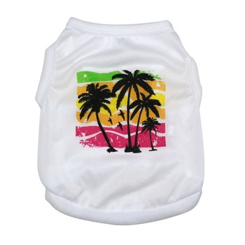 Vest Pet Dog Clothes Coconut Tree Print Clothing Dogs Super Small Cotton Soft Costume Cute Chihuahua Summer White Boy Mascotas image