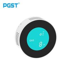PGST safety smart APP sterowanie przez wifi poinformuj detektor wycieku gazu palnego wyświetlacz LCD inteligentny czujnik alarmu gazu ziemnego w Czujnik i detektor od Bezpieczeństwo i ochrona na
