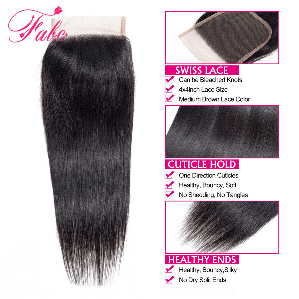 Image 4 - Fabc Hair Peruvian Straight Hair Bundles With Lace Closure Middle Part 3 Bundles With Closure Natural Black Human Hair Non remy-in 3/4 Bundles with Closure from Hair Extensions & Wigs