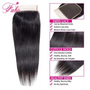 Image 4 - Fabc cabelo brasileiro feixes de cabelo em linha reta com fechamento pré arrancadas 3/4 pacotes preto natural não remy cabelo humano frete grátis