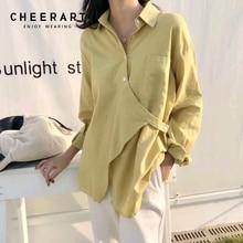 Cheerart Fall Button Up Shirt Women Long Sleeve Blouse Yellow White Designer Top Korean Fashion Clothing 2019