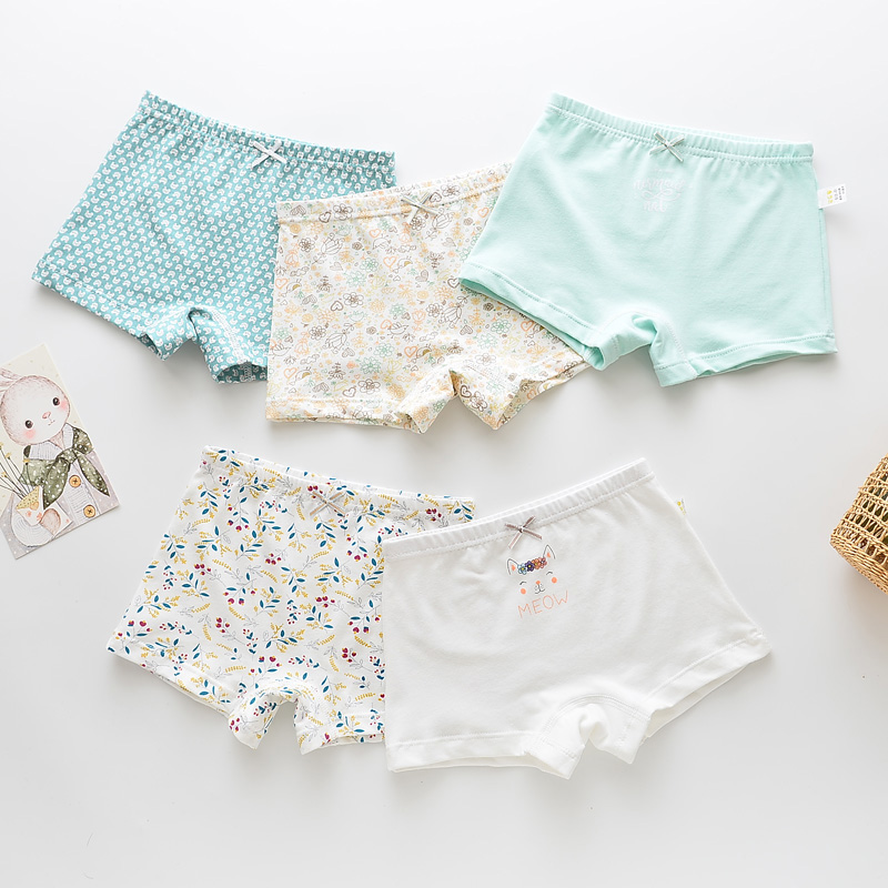 5Pcs/lot Girls Boys Cotton Boxer Briefs Girl Panties Boys Boxer Shorts Children's Panties Kids Underwear For 2-14 Years BU048