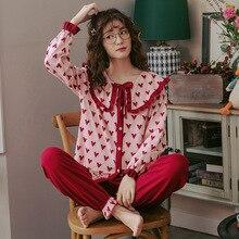 2019 delle Donne di autunno Inverno Pigiama Set Del Fiore di Stampa di Lusso Femminile Due Pezzi Camicette + Pantaloni Camicie Da Notte Molle Sveglio di Colore Rosa degli indumenti da notte