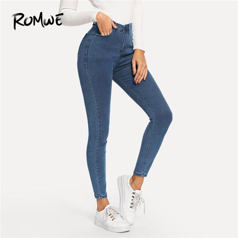ROMWE Solid Zipper Fly High Waist Jeans Women 2019 Spring Autumn Casual Skinny Jeans Denim Pants Stretchy Trousers