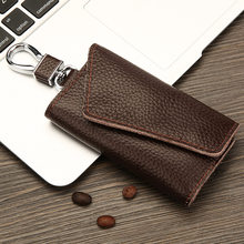 First layer leather car key case Men and women leather multi-function key ring large capacity key bag(China)