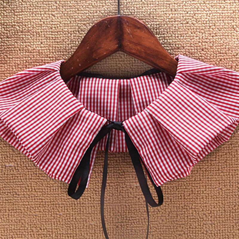2020 Fashion Fake Collar Black/Red Plaid Pleated Fake Tie Decorative Blouse Stand Collar Clothing Accessories High Quality