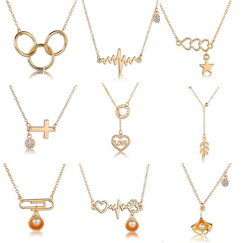 Ecg coração clavícula colar corrente dainty gargantilha feminino colar jóias rosa ouro gargantilha coração pingente corrente colar jóias