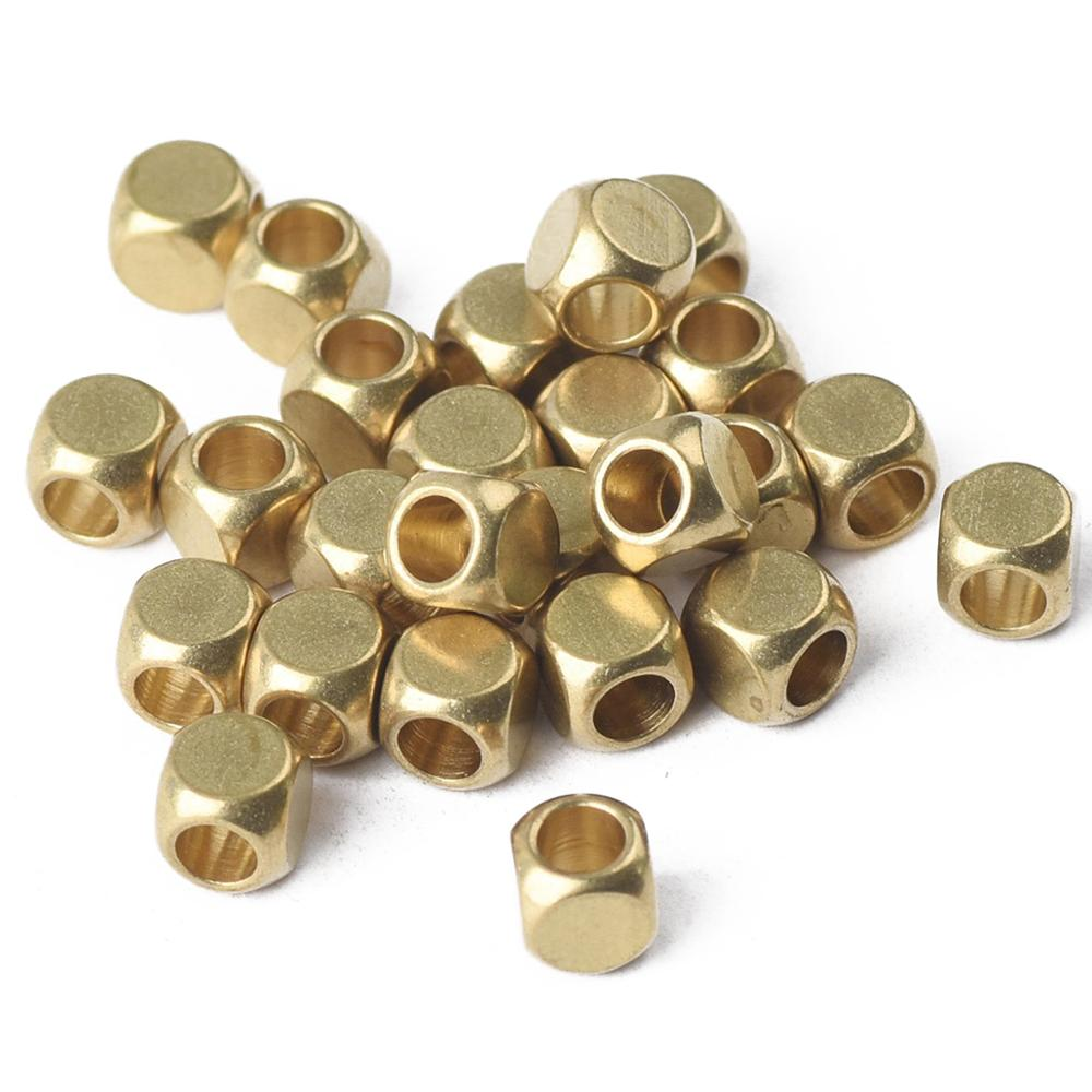 105 Brass Square Cube Beads 5mm slightly rounded square Metal Beads SKU-MB-139-B