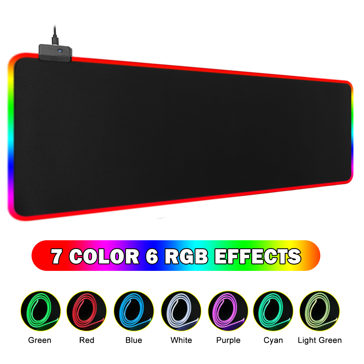 Large Gaming Mouse Pad RGB USB LED Glowing Gamer Keyboard Mousepad Mice Mat 14 Lighting Modes For PC Computer Laptop