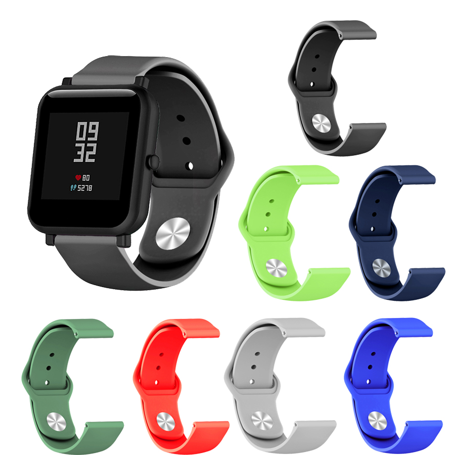 Smart Silicone Soft Strap For Xiaomi Huami Amazfit Bip BIT Lite Youth Wrist Watch Bracelet Amazfit Bip Watchband For 20mm Strap