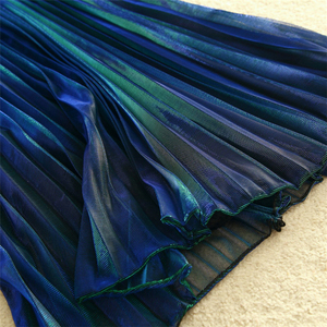 Image 5 - נשים קיץ קפלים חצאיות 2019 רשת Midi Saia גבוה מותניים בציר תחרה גברת חצאית נהיגה לראשונה חצאית Femme Falda Etek Mujer אפור סגול ירוק