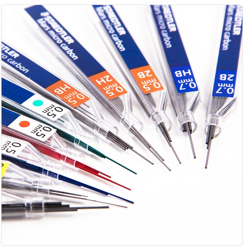 1 Tube Staedtler 250/254 Mechanical Pencil Super Fine 0.3/0.5/0.7/0.9/1.3 B/HB/2H/2B Black Lead 0.5mm Green Red Blue Refill