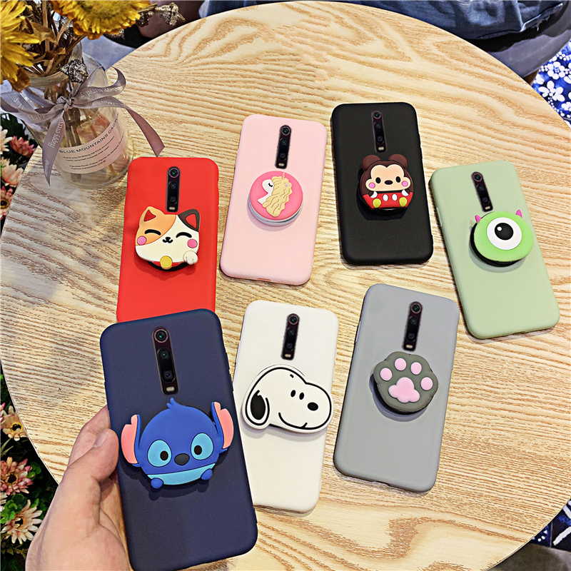 Silicone Cartoon Phone Holder <font><b>Case</b></font> For Xiaomi Redmi <font><b>K20</b></font> Mi 9T Girl Cute Stand Covers Matte Shell For Redmi <font><b>K20</b></font> <font><b>Pro</b></font> Mi 9T <font><b>Pro</b></font> image