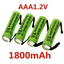Аккумуляторная батарея AAA 1,2 в, 1800 мА/ч, никель-металлогидридная батарея AAA со сварочными штифтами, игрушечный беспроводной телефон с плоским...