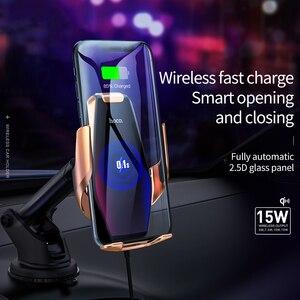 Image 3 - Bezprzewodowa ładowarka samochodowa HOCO Qi automatyczny klips na podczerwień Air Vent uchwyt samochodowy na telefon szklana powierzchnia 15W szybka ładowarka do iPhone X