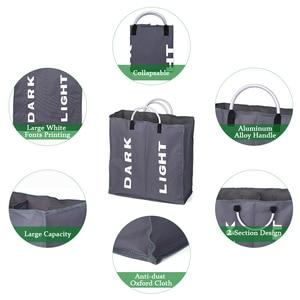Image 4 - Bolsa plegable para la colada, cesto grande para ropa sucia, clasificador de tela Oxford, bolsa de ropa sucia con mango de aluminio