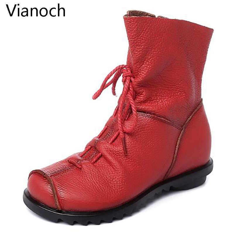 Echtes Leder Frauen Stiefel Vintage Flache Winter Frühling Stiefeletten Weiche Rindsleder Bootie frauen Schuhe Größe 40 41 42
