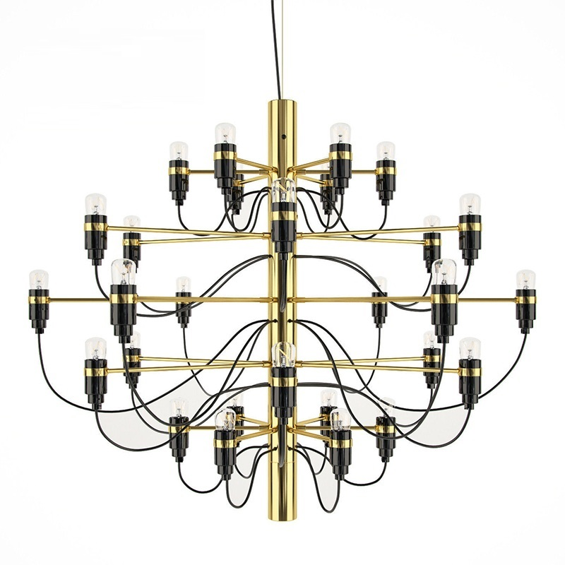 Nordic Modern 18/30 /50 Light Bulbs Gold Metal Chandelier For Dining Room Luxury Pendant For Living Room Gino Sarfatti Hotel