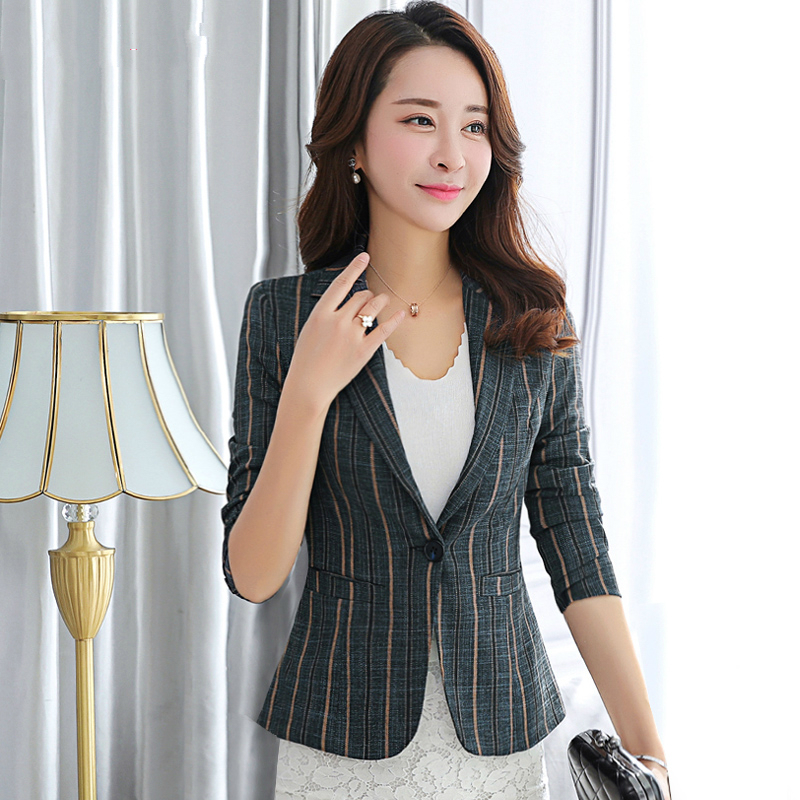 Spring New Stripe Blazer Women Coat Slim Long Sleeve Suit Office Lady Blazers For Woman Formal Jackets Single Button Tops