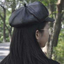 SILOQIN  Quality Genuine Leather Hat Snapback Woman Autumn Winter Fashion Sheepskin Newsboy Hats Leisure Tourism Lady Brands Cap
