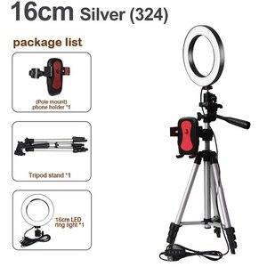 Image 2 - למעלה עסקות LED Selfie טבעת אור עם טלפון מחזיק צילום Dimmable Youtube וידאו חי תמונה סטודיו אור USB תקע (16Cm)