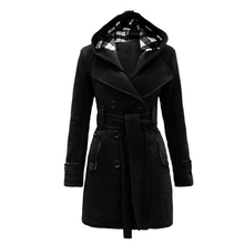 Winter Women Plaid Wool Cashmere Coat Pockets Long Black Camel Jackets Sashes Spliced Turn-down Collar Double Breastedred