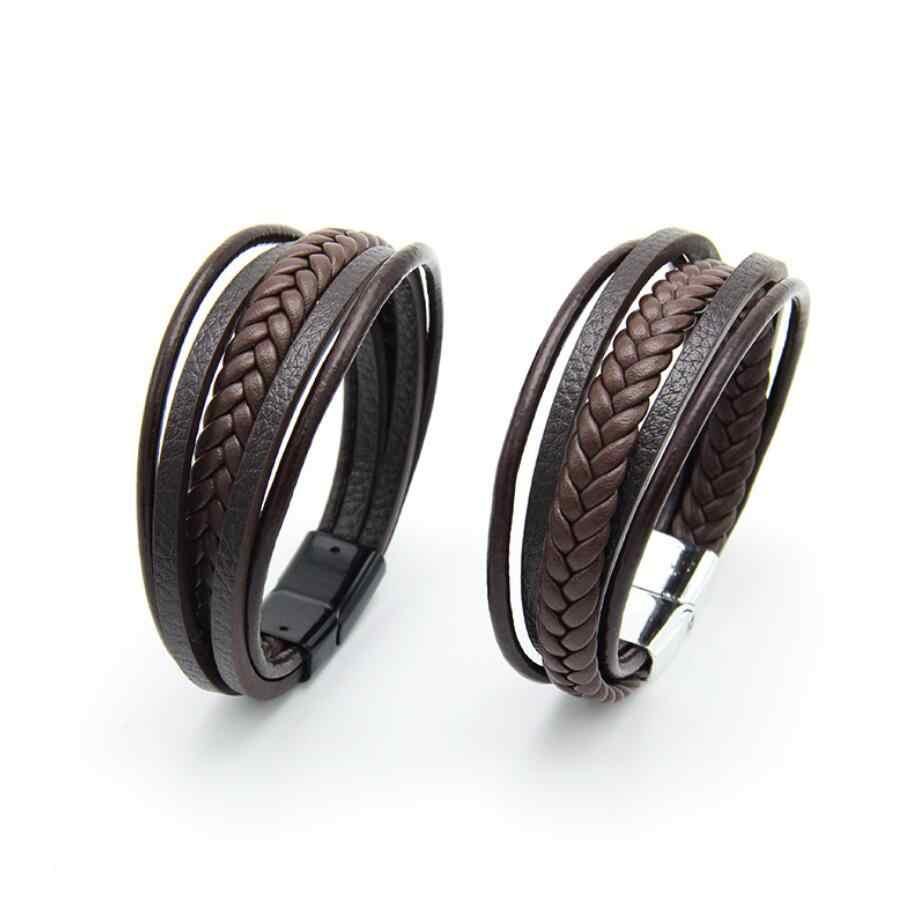 Męskie skórzane bransoletki skórzane bransoletki dla mężczyzn zapięcie magnetyczne skóry wołowej pleciony wielu warstwy Wrap bransoletka mężczyzna pulseras para hombre