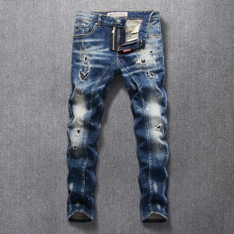 Italian Style Fashion Men Jeans Retro Blue Slim Fit Elastic Ripped Jeans Men Punk Pants Spliced Designer Hip Hop Jeans Homme