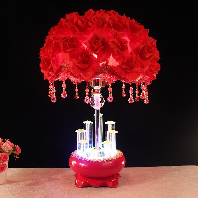220V Bedroom LED Rose Light Bedroom Decorative Bedside Lamp Creative Led Lamp Furnishings Wedding Decoration  Novelty LED