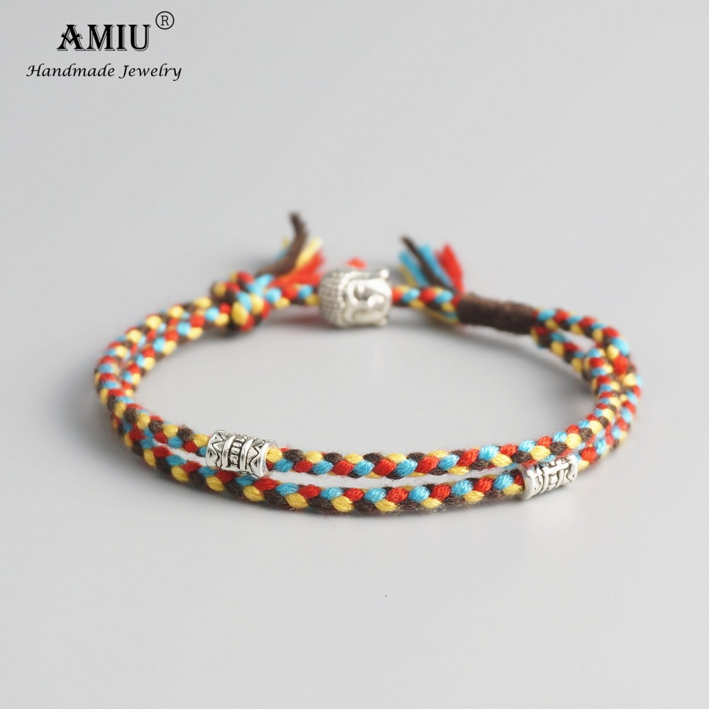 AMIU Tibetan Buddhist Lucky Woven Amulet Tibet Cord Bracelets & Bangles For Women Men Handmade Rope Buddha Anklet Bracelet