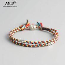 UGA-AMIU Amuleto Tibet Budista Tibetano Sorte Tecido Cord Pulseiras & Bangles Para Mulheres Homens Corda Artesanal Buddha Pulseira Tornozeleira