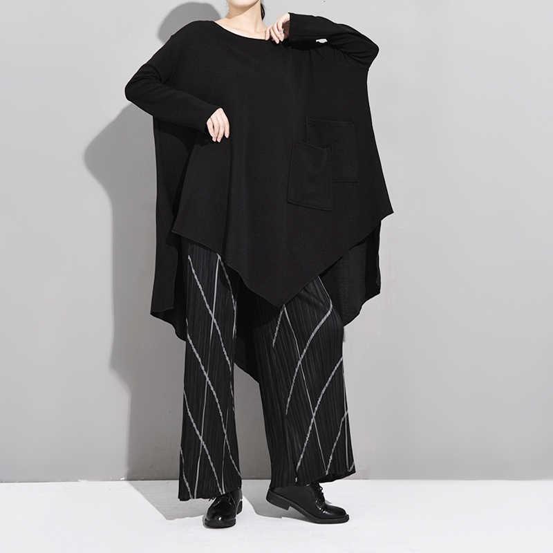 [EAM] Женская Черная длинная ассиметричная футболка большого размера, новая модная футболка с круглым вырезом и длинным рукавом, весна-осень 2019 JH4840