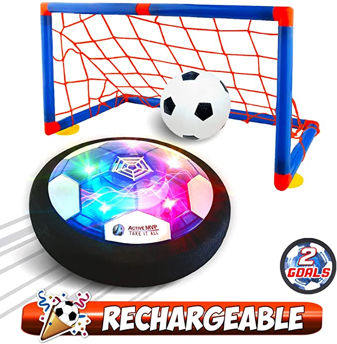 Drijvende Led Voetbal Speelgoed Air Power Voetbal Disc Zweven Voetbal Spel Licht Speelgoed Knipperende Bal Speelgoed Met Voetbal Doelen