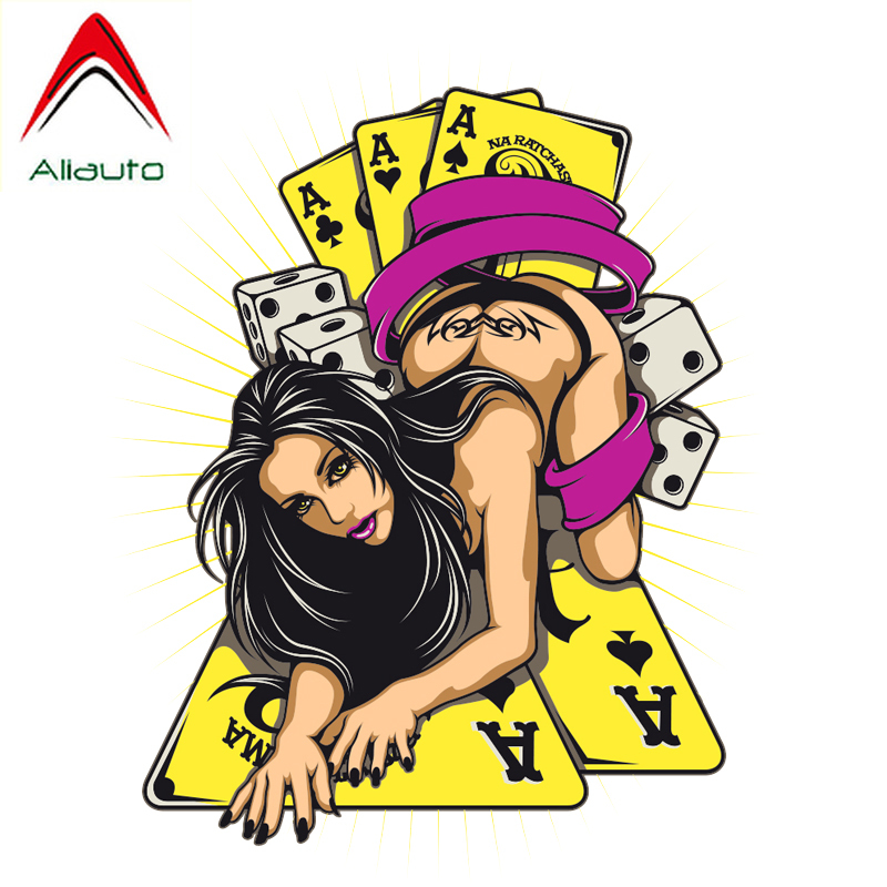 Aliauto Personality Fashion <font><b>Car</b></font> <font><b>Sticker</b></font> Poker and <font><b>Sexy</b></font> <font><b>Woman</b></font> Game PVC Motorcycle Sunscreen Anti-UV Decal Decoration,11cm*15cm image