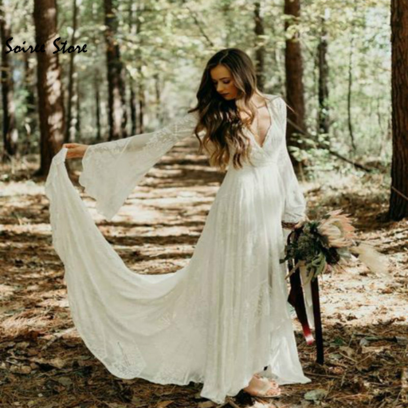 Chic Ivory Lace Boho Wedding Dress Civil Forset Country Wedding Dresses Deep V Neck Poet Sleeves Summer Beach Wedding For Bride