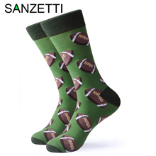 SANZETTI 1 Pair Happy Socks High Quality Men's Colorful Comfortable Combed Cotton Rugby Football Golf Gift Wedding Dress Socks stylish football cotton socks white blue pair