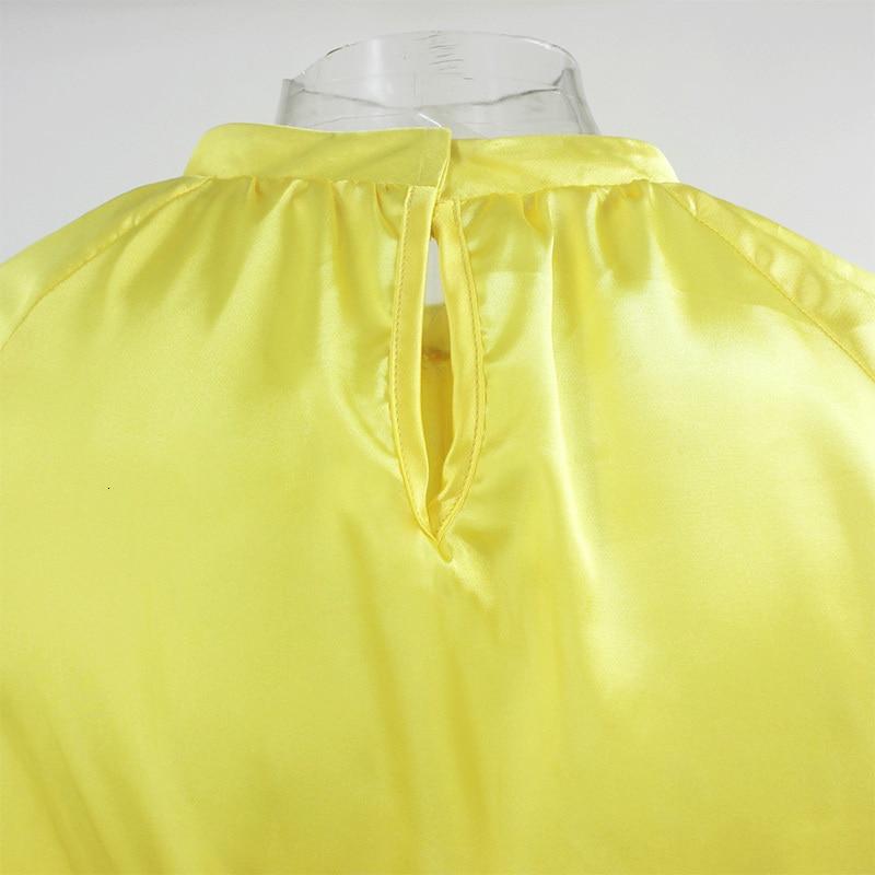 Yellow Long Lantern Sleeve Mini Dress