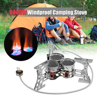 Windproof Outdoor Camping Gas Stove Burner 8000W Cartridge Adapter For Camping Hiking Traveling Fishing Mountaineering Burner