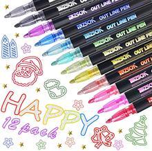Stylos à Double ligne, 8/12 couleurs, marqueurs pour écriture, dessin, carte de vœux d'anniversaire, Scrapbooking, peinture