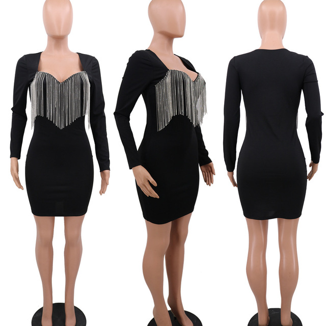 Sexy Crystal Diamonds Tassel Bodycon Evening Party Club Mini Dress Women Elegant Long Sleeve Deep V Neck Dresses Outfit Vestidos 5