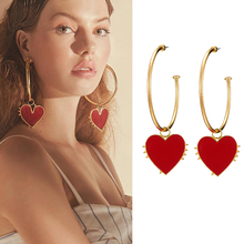 Fashion Red heart Hoop Earrings For Women Exaggerated Elegant Retro Long Bohemia Jewelry Statement Style Bijoux