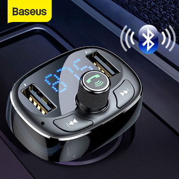 Baseus LCD Display FM Transmitter Car Charger Dual USB Phone Charger Handsfree Bluetooth MP3 Player,born to listen music in car