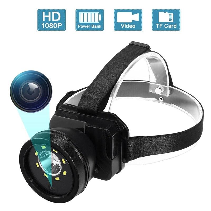 1080P Adjustable Super Bright head light lamp Flashlight Camera, IPX4 Waterproof Night Vision Cam for Climbing Camping Walking C