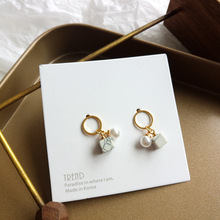 S925 silver needle earrings white marble small drop shiny pearl golden circle women jewelry female girl gifts