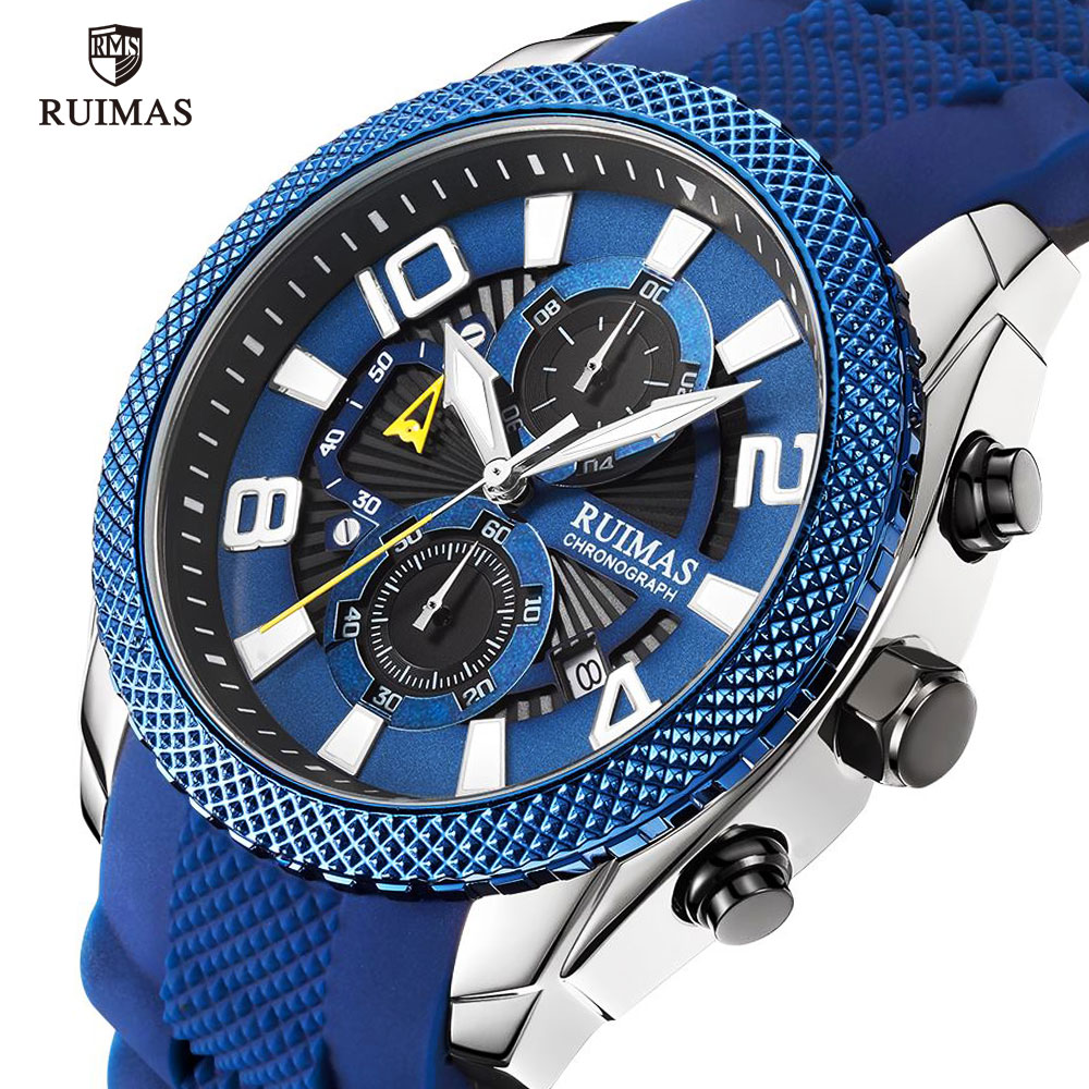 RUIMAS Blue Military Sport Watch Men Luxury Top Brand Waterproof Watch Man Fashion Chronograph Wristatch Relogios Masculino 584
