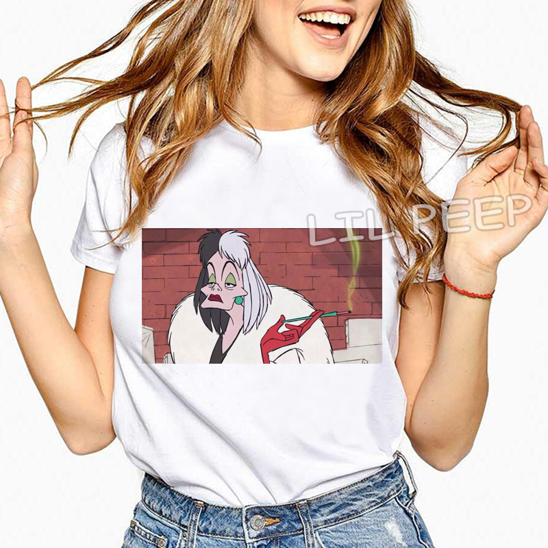 Harajuku 2019 Women Fashion Design Comfortable White Short Sleeve Top Tee Cruella De Vil Print Cotton Soft Vintage 90s T-shirt