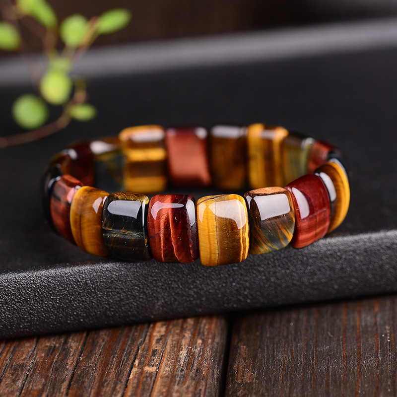 BOEYCJR Colorful Tiger Eyes Natural Stone Beads Bangles & Bracelets Handmade Jewelry Energy Bracelet for Women or Men