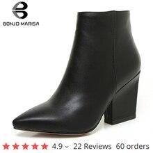 Bonjomarisa Size 32 43 Winter Puntschoen Ankle Chelsea Laarzen Vrouwen 2020 Rijpe Zwarte Ol Laarsjes Dames Hoge Hakken schoenen Vrouw