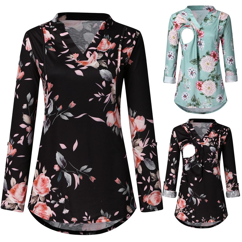 Print Maternity clothes pregnant women Nusring Blouse Breast feeding Flower Pregnancy Clothes V-Neck Pregnant Tops платье